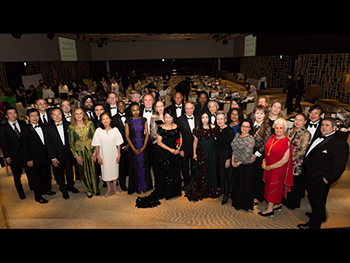 Group photograph of H.E. Mr. and Mrs. Ambassadors and their spouses, QoLF Medical Advisors and Mrs. Helena Phua, Executive Vice-President, The New York Times