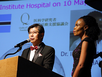 Dr. Shinji Ohno, Deputy Hospital Director, The Cancer Institute Hospital of Japanese Foundation for Cancer Research, QoLF Medical Advisor reports on the medical training to Dr. Setlhako (right) invited by the Quality of Life Fund